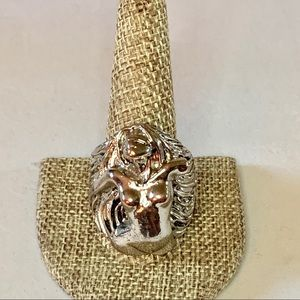 Silver and Copper Nude Woman Bikers Ring Size 12